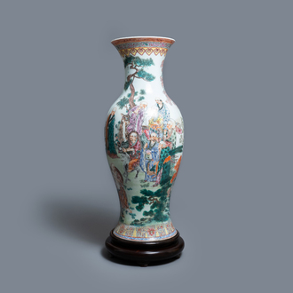 A large Chinese famille rose 'immortals' vase, Republic