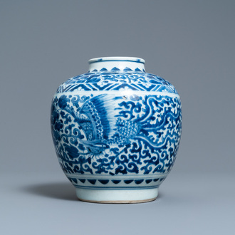 A Chinese blue and white 'phoenixes' jar, figurative hare mark, Transitional period