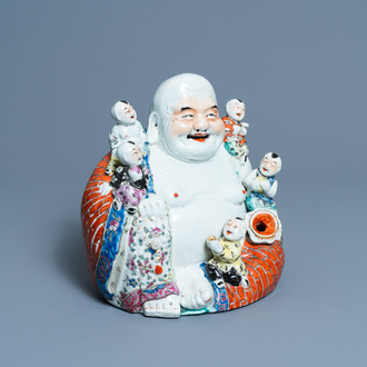 A Chinese famille rose figure of Buddha, seal mark, 19/20th C.