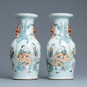 A pair of Chinese qianjiang cai vases, 19/20th C.
