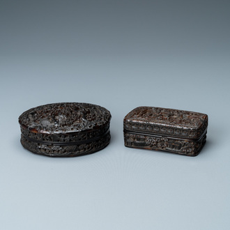 Two Chinese Canton tortoise veneer covered boxes, 19th C.