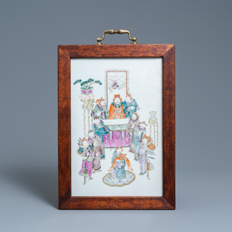 A Chinese famille rose plaque, 19th C.