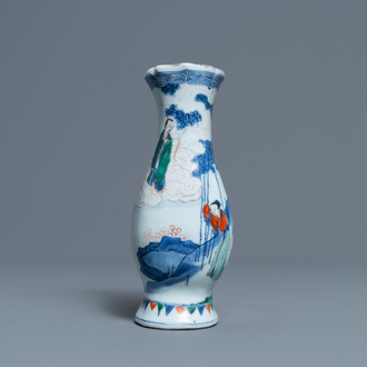 A Chinese wucai wall pocket vase, Transitional period