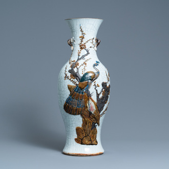 A Chinese polychrome Nanking crackle-glazed 'peacock' vase, Chenghua mark, 19th C.