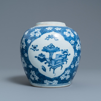 A Chinese blue and white 'antiquities' jar, Kangxi