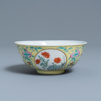 A Chinese famille rose yellow sgraffito-ground bowl, Daoguang mark and of the period