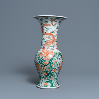 A Chinese famille verte 'yenyen' vase with a dragon and carps, Kangxi mark, 19th C.