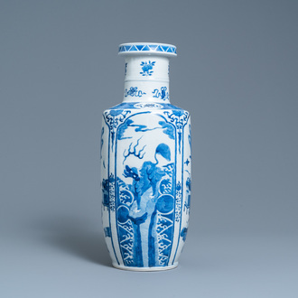 A Chinese blue and white rouleau vase, Kangxi mark, 19th C.