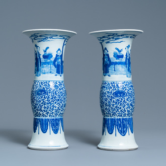 A pair of Chinese blue and white vases, Guangxu