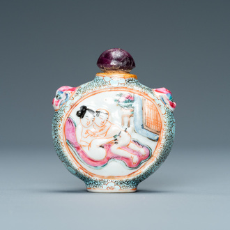 A Chinese famille rose 'erotical subject' snuff bottle, Qianlong mark, 19th C.