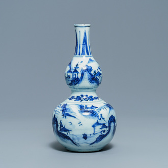 A Chinese blue and white double gourd vase, Wanli