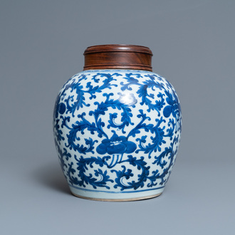A Chinese blue and white jar with floral design, Kangxi