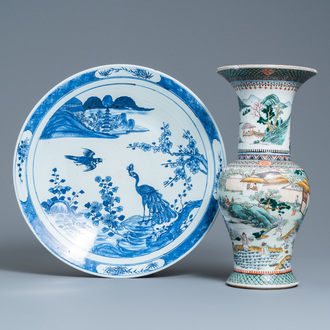 A Chinese famille verte 'yenyen' 'rice production' vase and a large blue and white 'peacock' dish, 19th C.