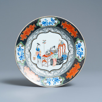 A Chinese famille rose pseudo-silver bordered plate, Yongzheng