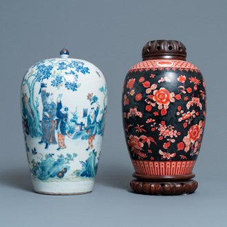 A Chinese doucai jar and an iron-red black-ground jar, 19th C.