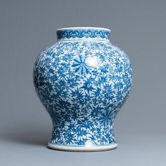 A Chinese blue and white 'lotus scroll' vase, Qianlong