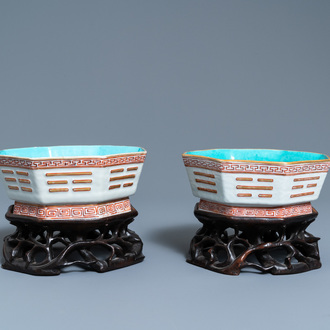 A pair of Chinese octagonal 'trigrams' bowls, Tongzhi mark and of the period