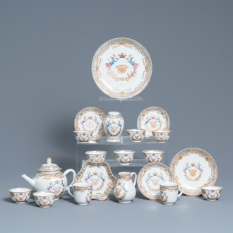 A Chinese famille rose tea service with crowned monograms for the European market, Qianlong