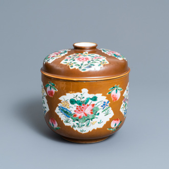 A Chinese famille rose capucine brown-ground bowl and cover, Qianlong