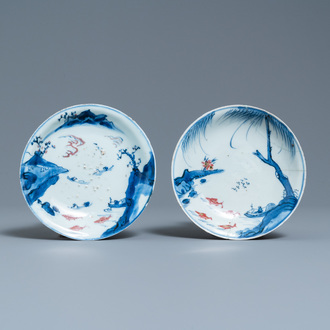 Two Chinese blue, white and copper-red 'fish' plates, Transitional period
