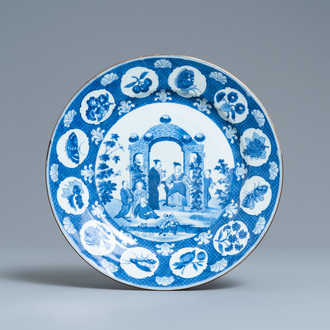 A Chinese blue and white 'arbor' dish after Cornelis Pronk, Qianlong