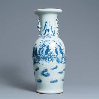 A Chinese blue and white celadon-ground vase, 19th C.