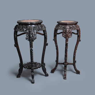 Two reticulated Chinese carved wooden stands, 19/20th C.
