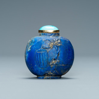 A Chinese lapis lazuli snuff bottle with gilt base, Qing