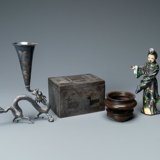 A Chinese enamelled silver figure, a silver vase, a silver-inlaid bronze censer and a silver-plated bronze box, 19/20th C.