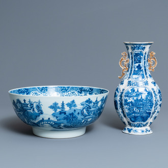 A Chinese blue and white 'landscape' vase and a large bowl, Qianlong
