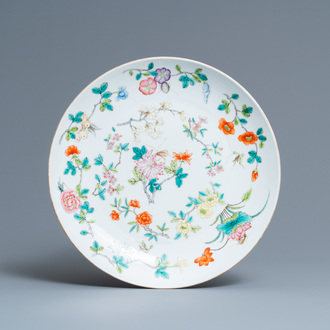 A Chinese famille rose dish, Jiaqing mark, 19th C.