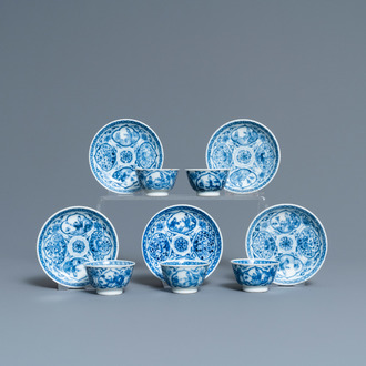 Five Chinese blue and white cups and saucers, Kangxi