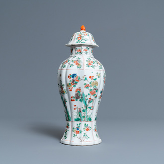 A Chinese famille verte vase and cover, Kangxi