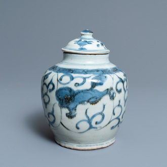 A Chinese blue and white jar and cover, Wanli