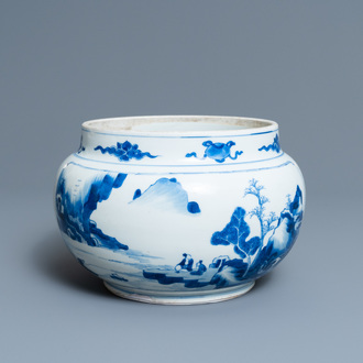 A Chinese blue and white bowl with figures in a landscape, Kangxi