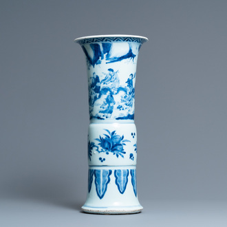 A tall Chinese blue and white 'gu' 'immortals' vase, Kangxi