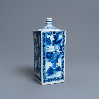A Chinese blue and white square flask, époque Transition