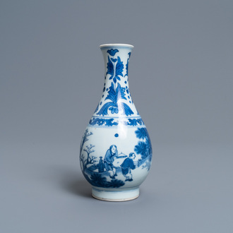 A Chinese blue and white pear-shaped bottle vase, Transitional period