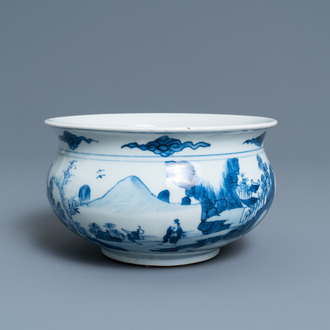 A Chinese blue and white censer with figures in a mountainous landscape, Kangxi
