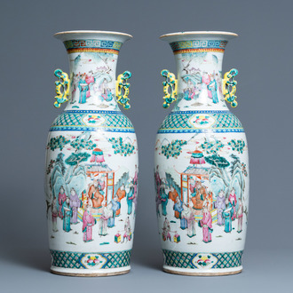 A pair of Chinese famille rose vases, 19th C.