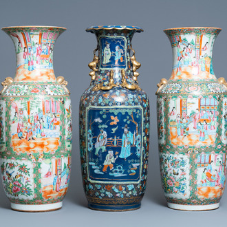 A pair of Chinese Canton famille rose vases and a blue-ground vase, 19th C.