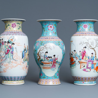 Three Chinese famille rose vases, Qianlong marks, Republic