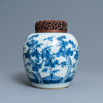 A Chinese blue and white 'Three friends of winter' jar, Kangxi