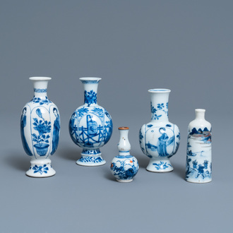 Five Chinese blue, white, copper-red and Imari-style vases, Kangxi and later