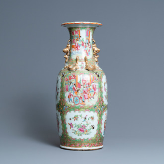 A Chinese Canton famille rose vase, 19th C.
