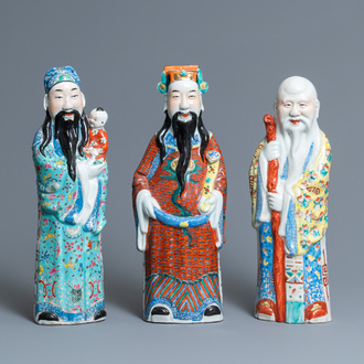 Three Chinese famille rose 'Star God' figures, seal marks, 19/20th C.