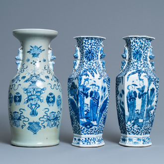 A pair of Chinese blue and white vases and a celadon-ground vase, 19th C.