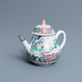 A Chinese famille rose 'fishermen' teapot and cover, Yongzheng