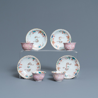 Four Chinese lotus-moulded famille rose cups and sauces with squirrels, Yongzheng