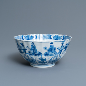 A Chinese blue and white lotus-molded 'Seven sages in the bamboo grove' bowl, Chenghua mark, Kangxi